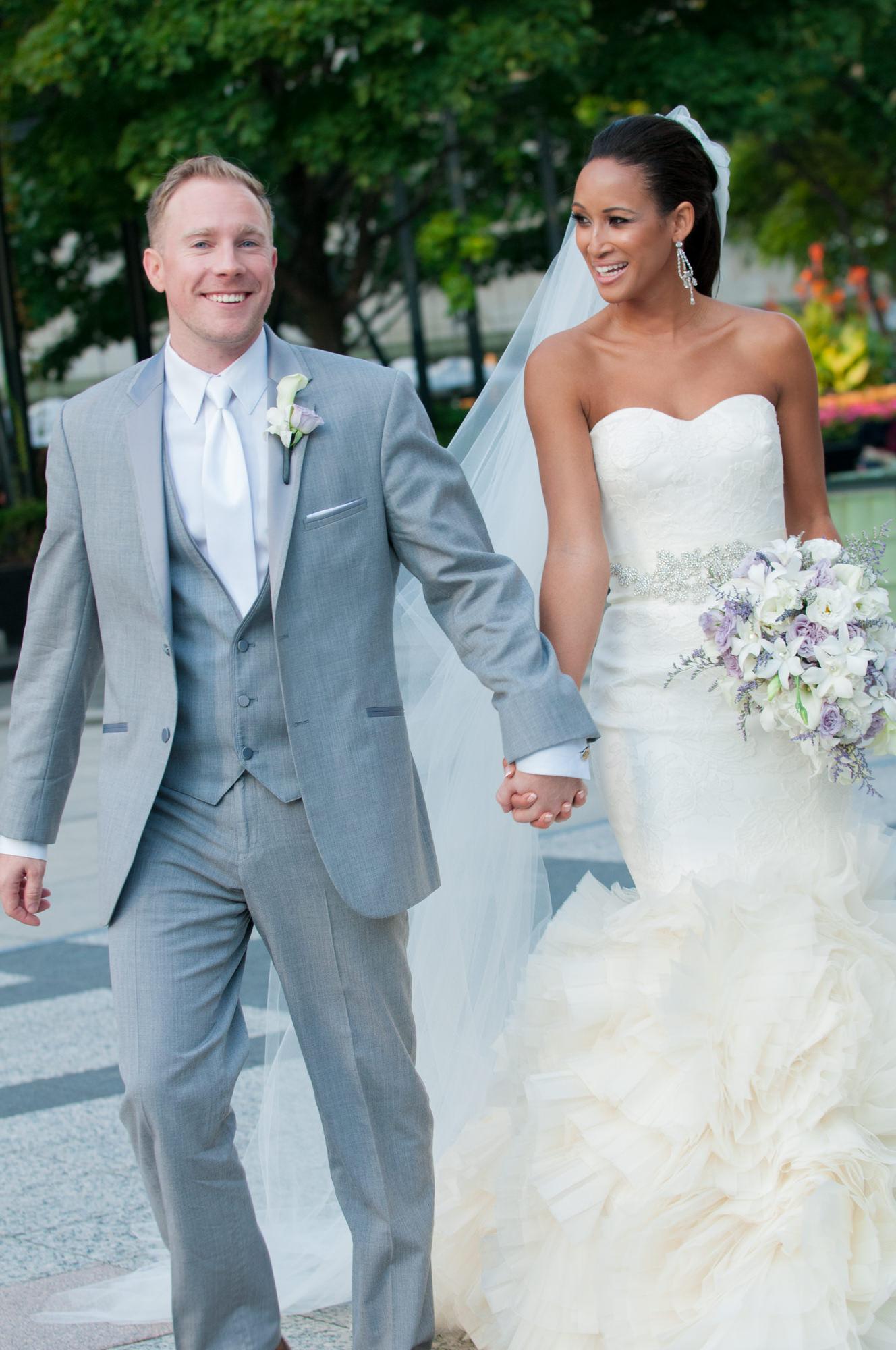 Bride Groom Walking Pioneer Court Chicago