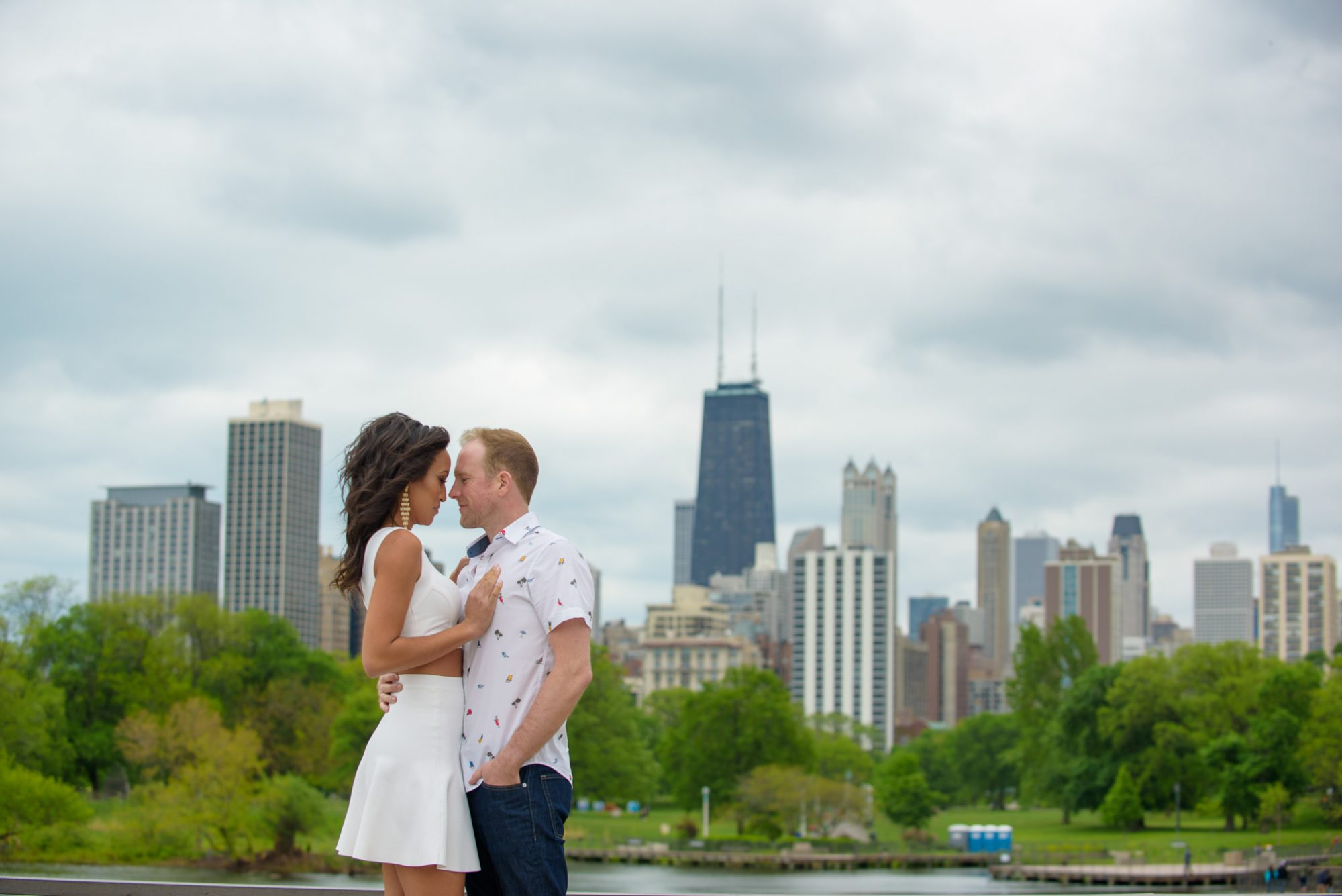 Engaged Couple Chicago Lincoln Park Skyline