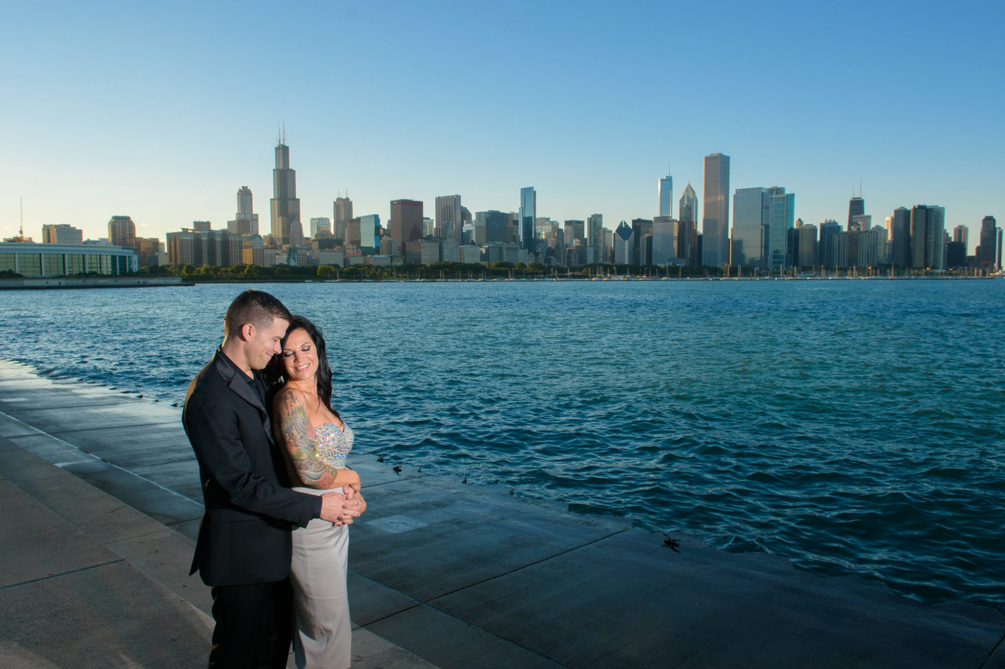 Engagement Chicago Lake Skyline