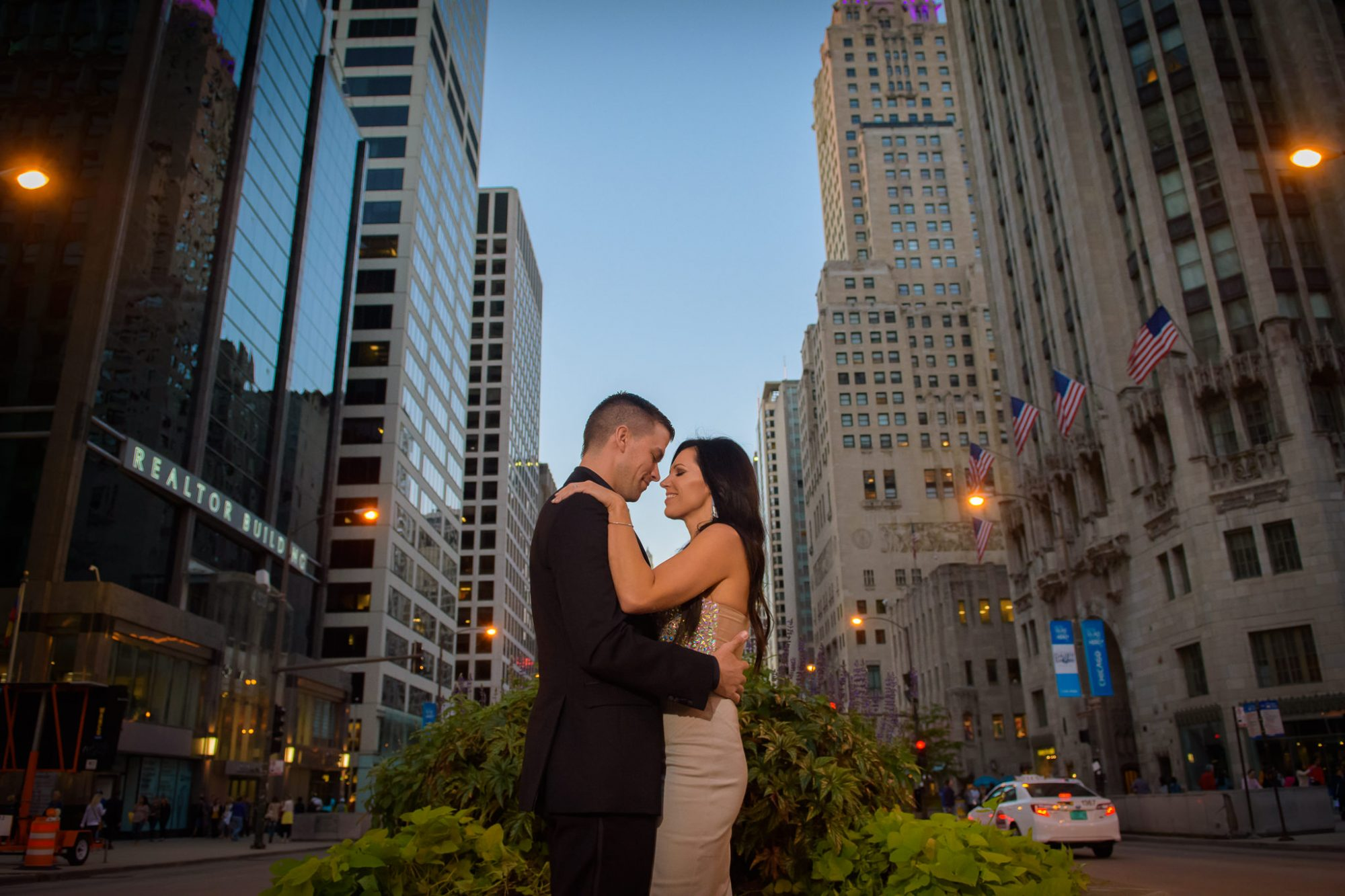 Engagement Downtown Chicago Michigan Avenue
